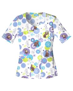 Cherokee Scrub HQ Novelty V-Neck Top - Monkey Bubble Cherokee Scrubs, Curious George, Medical Scrubs, Scrub Tops, Princess Seam, V Neck Tops, Work Wear, Tunic Tops, Monkey