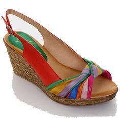 Fantasia - Damen Freizeit Schuhe mit Keilabsatz Peep Toe mit Knoten-Detail - Rot, Synthetik, 41 - http://on-line-kaufen.de/fantasia-boutique/41-eu-fantasia-damen-freizeit-schuhe-mit-peep-toe