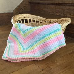 Vintage Baby Afghan  Pink Yellow Green and White by MyVintagePoint