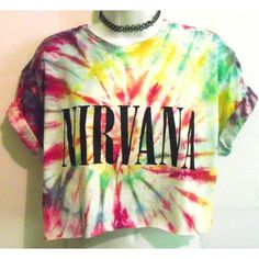 TIE DYE NIRVANA T SHIRT Crop Top Blouse Huf Retro 90s Dip Vintage Band... ❤ liked on Polyvore featuring tops, blouses, huf, crop top, vintage crop top, retro blouses and retro tops