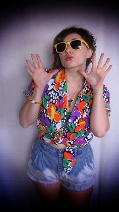 80s Floral Polka Dot Fun Blouse by OhMyGodTriangles on Etsy, $25.00