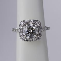 Blinded by the brilliant sparkle of this cushion cut halo engagement ring by Ritani!
