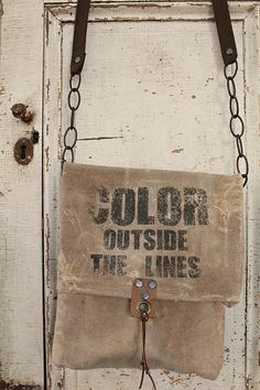 cinnamon creek dry goods | Color Outside the Lines Bag.....Waxed canvas, canvas and chain straps. 13 x 11 ~ 46-