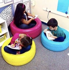 I spy all of my favorite colors! I think I may need to make these tire seats from for my classroom! 2nd Grade Classroom, Classroom Setting, Classroom Setup, Classroom Design, Kindergarten Classroom, Future Classroom, Classroom Organization, Classroom Management, Tire Seats