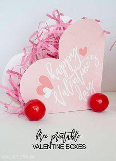 FREE Printable Valentine Boxes by Love The Day Valentine Theme, Valentine Box, Valentines Day Party, Valentine Day Crafts, Valentine Ideas, Valentine Wreath, Valentine Stuff, Diy Birthday Decorations, Birthday Diy