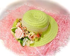 Girl's Easter Bonnet Pink & Lime Tea Party Hats by Marcellefinery