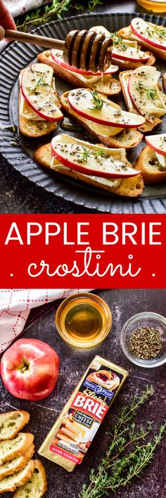 Apple Brie Crostini are like little bites of heaven! Crunchy slices of toasted baguette topped with creamy melted brie, crisp apples, a drizzle of honey, and a touch of fresh ground pepper... they're the perfect fall appetizer, and destined to become a favorite!