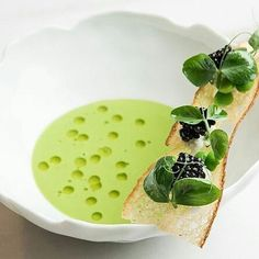 Pea soup with caviar by Abram Bissel of The Modern, NYC 📸 uploaded by 💥💥💥Join our Cookniche Community and create your… Gourmet Food Plating, Soup Plating, Healthy Soup Recipes, Gourmet Recipes, Gourmet Foods, Gourmet Desserts, Plated Desserts, Healthy Food, Catering