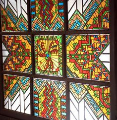 Stained glass window in the Great Hall, Ahwahnee Hotel, Yosemite.
