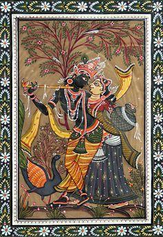 Radha Krishna (Orissa Pattachitra Painting on Tussar Silk - Unframed) Indian Traditional Paintings, Indian Art Paintings, Traditional Art, Krishna Painting, Krishna Art, Radhe Krishna, Buddha Painting, Madhubani Art, Madhubani Painting