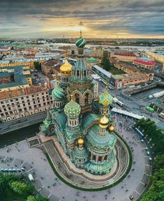 Aerial view of Church of the Savior on Spilled Blood ~ Saint Petersburg, Russia . - Best Places to Visit X Russian Architecture, St Petersburg Russia, Destination Voyage, Europe Photos, World Pictures, Travel Abroad, Travel Tips, Travel Advice, Budget Travel