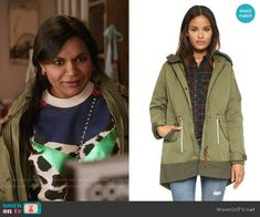 Mindy's parka on The Mindy Project.  Outfit Details: https://wornontv.net/57162/ #TheMindyProject