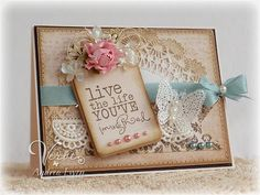 handmade card in Shabby Chic style ... but not too shabby ... ribbons, lace, butterfly, flower, pearls, soft colors ...