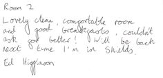 Guest feedback this morning after a four night stay in our standard quadruple room.