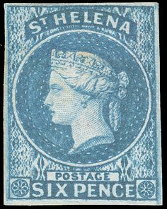 S:t Helena 1 1856 blue Q Victoria, wmkd Large Star, imperf, four margins Colonial, Crown Colony, Empire, East India Company, St Helena, Vintage Stamps, King George, Stamp Collecting, Printmaking