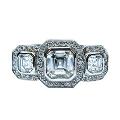 Three Stone Asscher Diamond Ring with Pave #jbirnbach