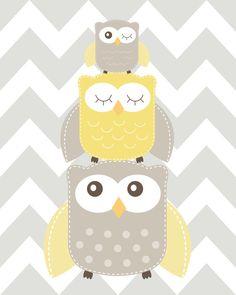 Nursery Art Nursery Owl Art Grey and Yellow Nursery by ChicWallArt