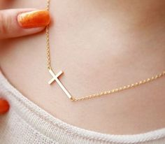 usd12.99/Image of Beautiful Golden Cross Necklace