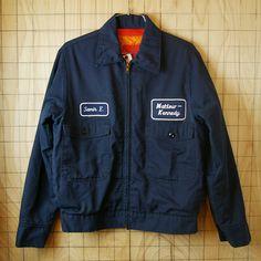USA製古着ワッペンネイビー(紺)中綿ワークジャケット・ブルゾン・ジャンパー|メンズSサイズ