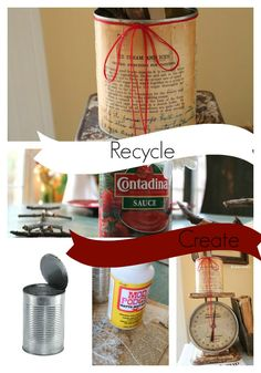#Mod #podge recycled cans and create cute #diy kitchen utensil holders. I used #Vintage cook book pages.