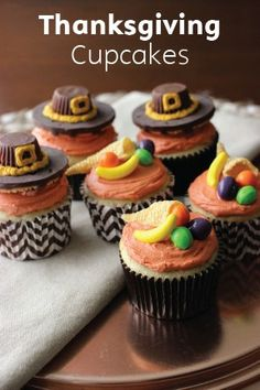 These Thanksgiving Cupcakes are a great way to give the holiday a little kid-friendly flair. While this recipe uses vanilla cupcakes and a scrumptious buttercream frosting, you can use any flavors you like—including a box mix. And with a few classic candies, the cornucopia and pilgrim hat toppings come to life in minutes!