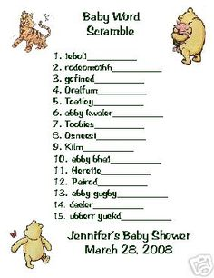 12 Classic Pooh Word Scramble For Baby Shower Games