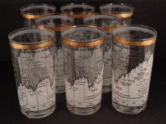 Barware Collection - CERA - TEN YEAR DOW-JONES INDUSTRIAL AVERAGE 1958-68 - HIGHBALL GLASSES