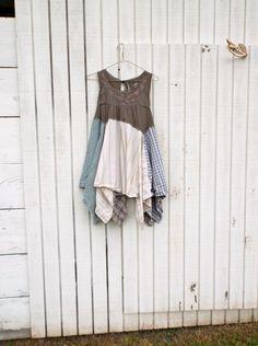 altered dress / fashion / upcycled dress / romantic Upcycled clothing / Patchwork Shirt Dress / by CreoleSha, $97.00