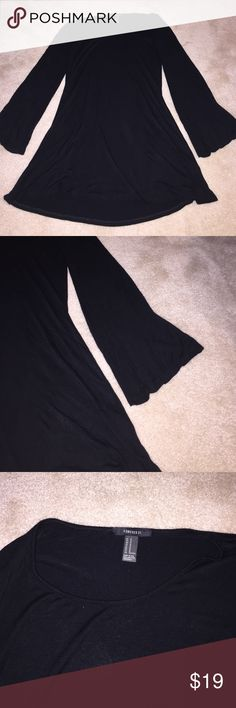 Forever 21 black dress Flared sleeves. T-shirt material. Stretchy and very comfy! Perfect condition! Forever 21 Dresses Long Sleeve