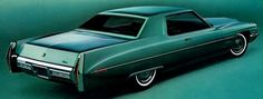 Rear quarter view of 1971 Cadillac Calais Coupe in Adriatic Turquoise