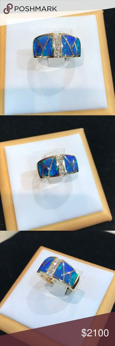 Australian opal and diamond ring. Bella design 14k yellow gold natural Australian opal and diamond ring.  Ring size can be adjusted. Jewelry Rings