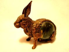 Antique Brass & Celluloid Rabbit Figural Tape Measure Measuring Germany C 1890