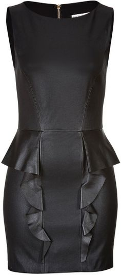 Dying over this EMILIO PUCCI Black Leather Dress with Ruffled Peplum Cocktail dress