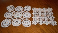 Lot of 2 Vintage Hand Crocheted Lace Doilies 12 x 13 & 9.5 x 9.5 Very Pale Ivory