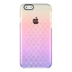 #pink - #Mermaid Pink Lilac Gold Yellow Ombre Waves iPhone Clear iPhone 6/6S Case