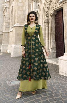 New indian Designer Party Wear Green & Olive colour Full Length Shrug Style dress Long Dress Design, Stylish Dress Designs, Stylish Dresses, Indian Designer Outfits, Designer Dresses, Kurta Neck Design, Kurta Designs Women, Latest Kurti Designs, Sleeves Designs For Dresses
