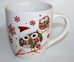 owl extra large coffee mug cup winter christmas holiday snowflakes hat scarves - Christmas Coffee Cups