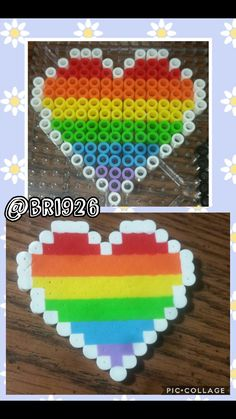 White heart outline filled with rainbow perler beads *not my design*