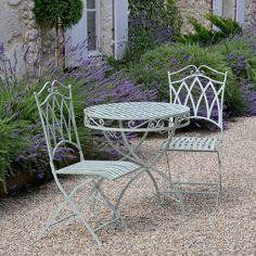 Loire Bistro Set, Garden Table And Chairs In Lichen