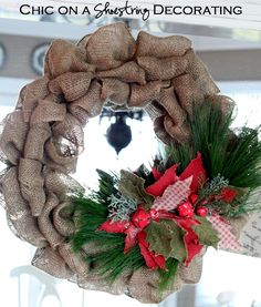 HAPPY Holidays — DIY Burlap Holiday Wreath - See more stunning DIY Chrsitmas Wreaths at DIYChristmasDecorations.net!