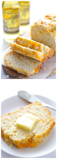 This Garlic Cheddar Beer Bread is super easy to make, and super tasty.   gimmesomeoven.com #bread #recipe