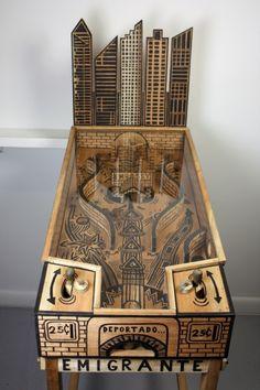 "Abel Barrose ''First Class"" - 2012 xylograph on wood Cigar Box Art, Pinball Wizard, Cardboard Box Crafts, Cuban Art, Penny Arcade, Environment Concept Art, Recycled Art, Wood Toys, Designer Toys"
