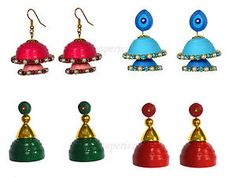 Quilling Jhumka - Set of 4 Earrings Combo (includes 2 Double Layer jhumki)