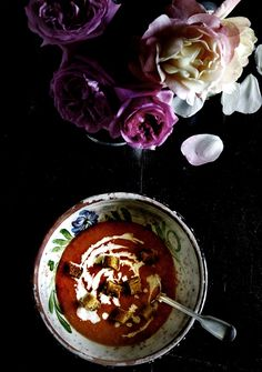 gazpacho soup + garlic cream