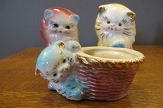 Vintage 1950s Three Little Kittens Ceramic Cat Kitten Planter Vase Figurine
