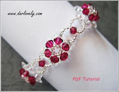 Beaded Bracelet Pattern Ruby Crystal Flower Bracelet BB131
