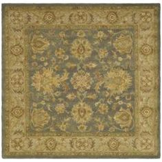 Handmade Antiquities Jewel Blue/ Beige Wool Rug (8' Square) - Dining Room