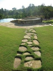 Stone walkways with grass joints ;)