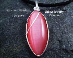 Pink Cats Eye Necklace by ElunaJewelry on Etsy, $27.75 @Elunajewelry