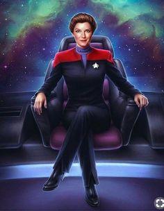 Janeway by Tara Phillips on ArtStation. Star Trek Cast, Star Trek Voyager, Captain Janeway, Captain Marvel, Star Trek Reboot, Star Trek Cosplay, Starfleet Ships, Star Trek Captains, Star Trek Characters